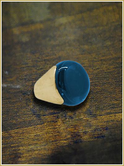 anello bimetal con pietra lucida bleu