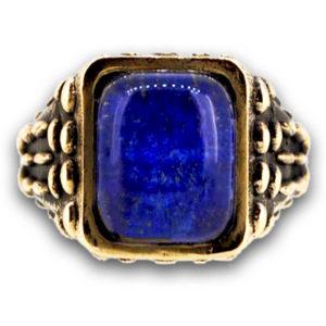 anello mandorlato con pietra blu