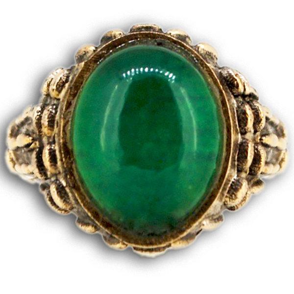 Anello con Agata Verde e Cristallo di Rocca su Corpo di Bronzo Mandorlato