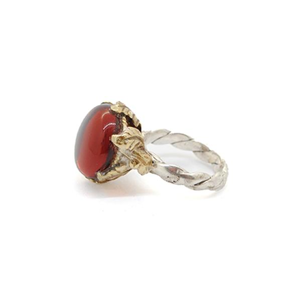 anello argento bronzo e zirconia arancio