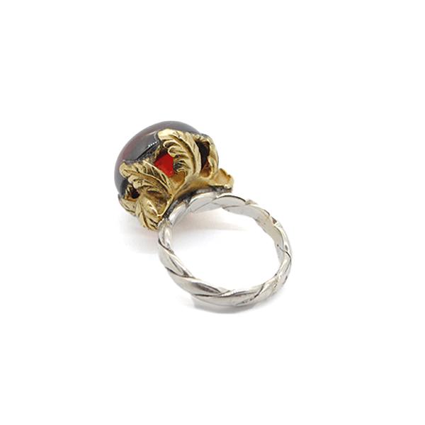 anello argento bronzo e zirconia porpora