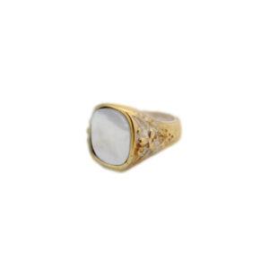 anello artigianale bronzo chevalet madreperla deco rettangolare-napoli
