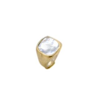 anello artigianale bronzo chevalet madreperla rettangolare napoli