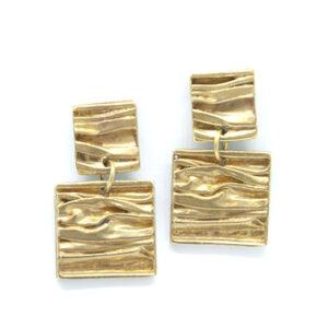 mattana design quadro orecchini drappo bronzo quadrati
