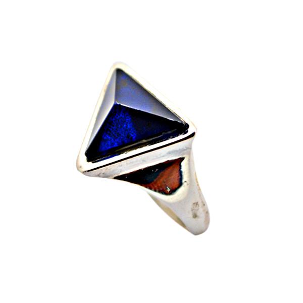 anello-prisma artigianale argento pietra spinello blue napoli