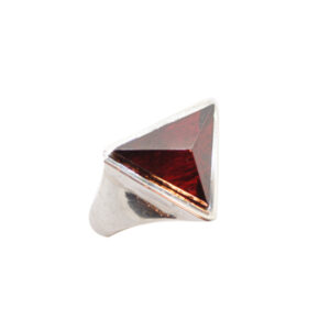 anello prisma artigianale argento pietra zirconia rosso napoli