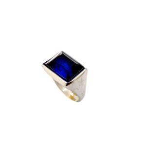 anello rettangolo artigianale argento pietra spinello blue napoli