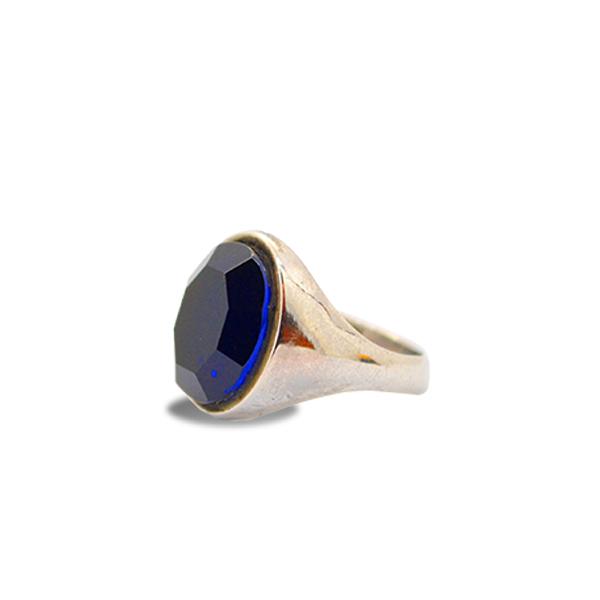 mattana design anello argento 925 pietra esagonale spinello-blue