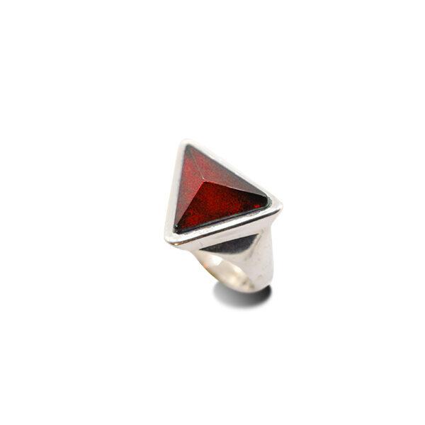 mattana design anello argento 925 pietra zirconia rossa