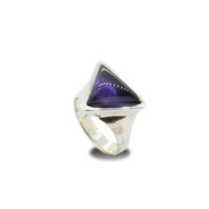 mattana design anello argento ametista quarzo prisma
